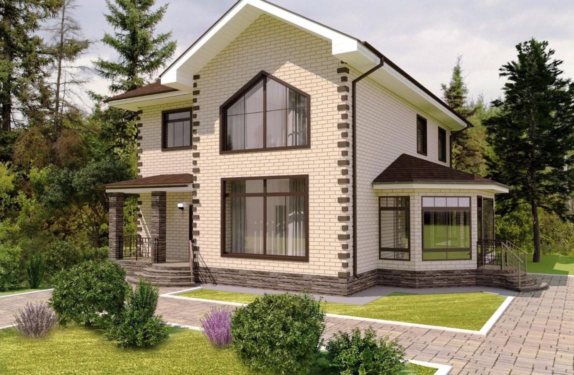 дом с панорамными окнами двухэтажный